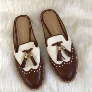 NEW Stuart Weitzman brown leather slip on mules!